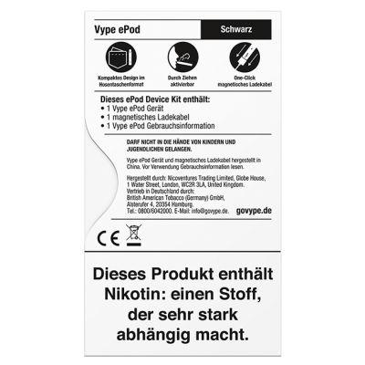 Vype Vype ePod Device Kit Schwarz bei www.Tabakring.de kaufen