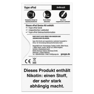 Vype Vype ePod Device Kit Anthrazit bei Tabakring | Ihr Shop für Tabakwaren und E-Zigaretten kaufen