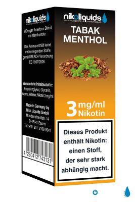 NikoLiquids NikoLiquids Tabak Menthol Liquid 3mg Nikotin/ml bei www.Tabakring.de kaufen
