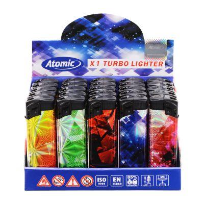 Atomic Atomic Elektronik Sturmfeuerzeug Turboflamme Motiv Feuerwerk bei www.Tabakring.de kaufen