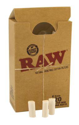 RAW RAW Zigarettenfilter Slim 6mm Baumwolle ungebleicht bei www.Tabakring.de kaufen