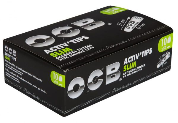 OCB Activ Tips Slim 7mm Aktivkohlefilter Zigarettenfilter