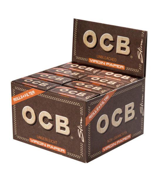 OCB Unbleached Rolls + Tips Virgin Paper (16 x 1 Stück)
