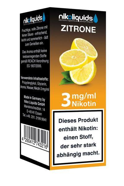 NikoLiquids Zitrone eLiquid 3mg Nikotin/ml (10 ml)