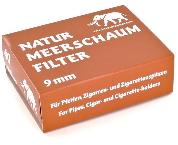 Meerschaum Pfeifenfilter natur White Elephant 9mm (Packung á 40 Stück)