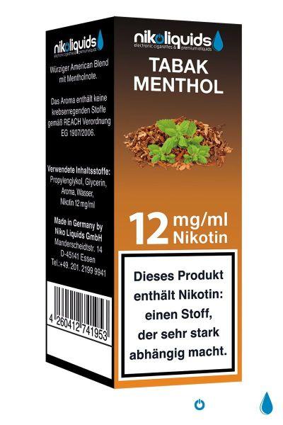 NikoLiquids Tabak Menthol eLiquid 12mg Nikotin/ml (10 ml)