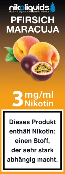 NikoLiquids Pfirsich-Maracuja 3mg Nikotin/ml (10 ml)