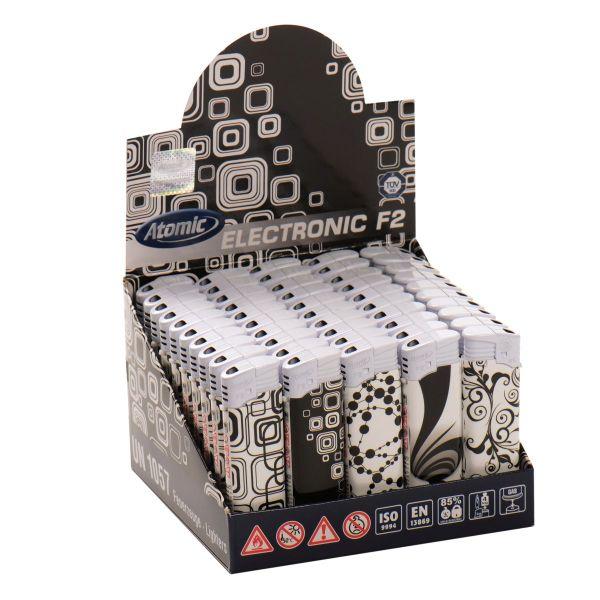 Feuerzeuge Atomic Elektronik Motiv Black & White (50 x 1 Stk.)