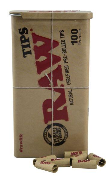 RAW nfilter Tips Slim Metalldose ungebleicht vorgerollt (Dose á 100 Stück)