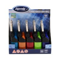 Atomic Mini Stabfeuerzeug BBQ Knick Turboflamme Semi-Transparent nachfüllbar