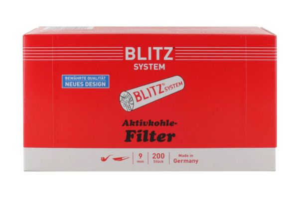 Blitz Aktivkohlefilter Pfeifenfilter 9mm (Schachtel á 200 Stück)