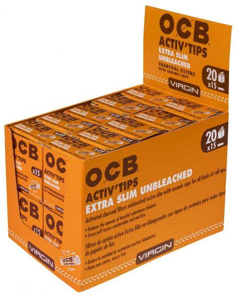 OCB Activ Tips Extra Slim Unbleached 6mm (20 x 15 Stück)