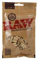 RAW Zigarettenfilter Slim 6mm Zellulose ungebleicht (Beutel á 200 Stück)