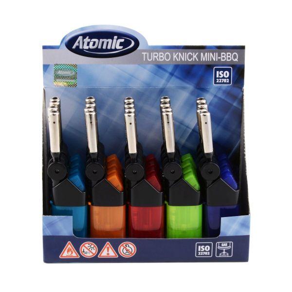 Atomic Mini Stabfeuerzeug BBQ Knick Turboflamme Semi-Transparent nachfüllbar (20 x 1 Stk.)