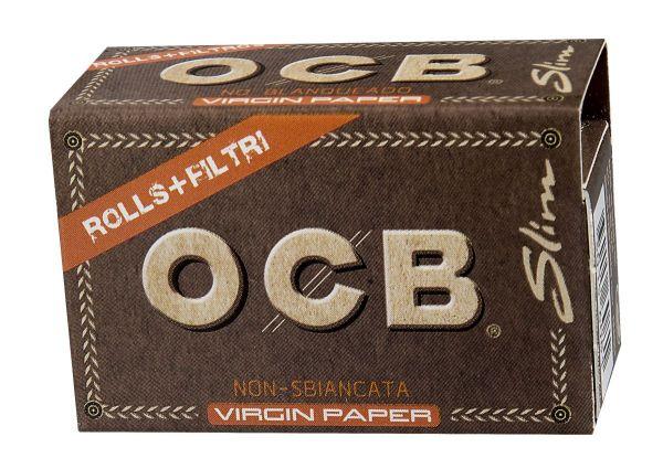 OCB Unbleached Slim Virgin Zigarettenpapier Roll Kit (20 x 32 Stück)