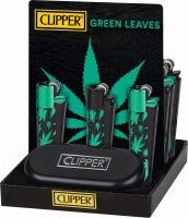 Feuerzeug Clipper Metal Green Leaves (1 Stück)