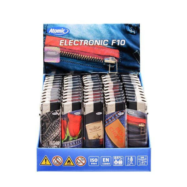 Feuerzeuge Atomic Elektronik F10 Motiv Jeans (50 x 1 Stk.)