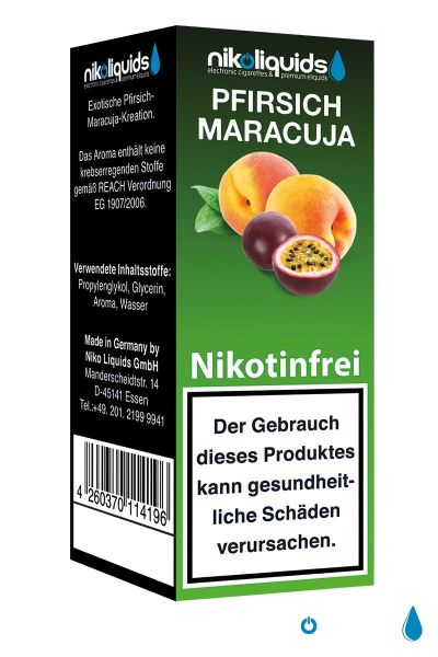 NikoLiquids Pfirsich-Maracuja Liquid 0mg Nikotin/ml