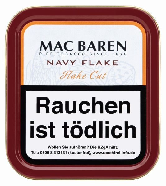 Mac Baren Pfeifentabak Navy Flake (Dose á 100 gr.)