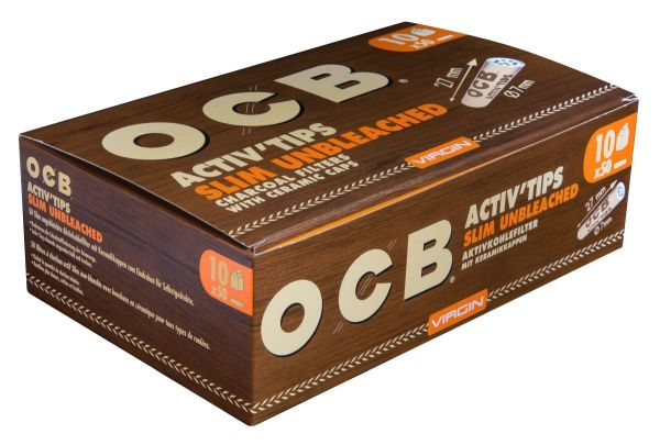 OCB Activ Tips Slim Unbleached 7mm Aktivkohlefilter (10 x 50 Stück)